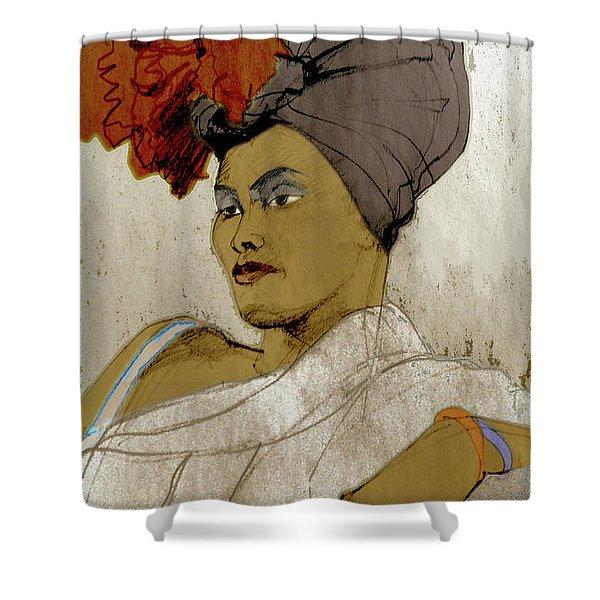 Portrait Of A Caribbean Beauty Shower Curtain