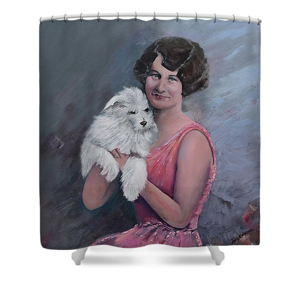 Maggie And Caruso -portrait Of A Flapper Girl Shower Curtain
