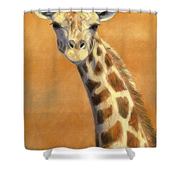 Portrait Of A Giraffe Shower Curtain