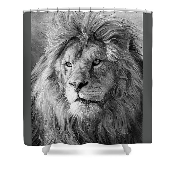 Portrait Of A Lion - Black And White Shower Curtain
