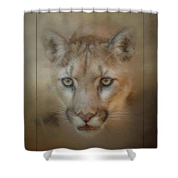 Portrait Of A Mountain Lion Shower Curtain