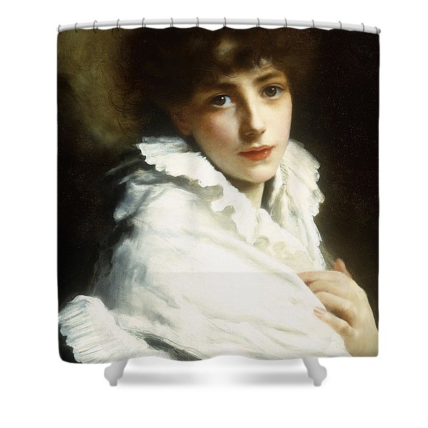 Portrait Of A Young Girl In White Shower Curtain