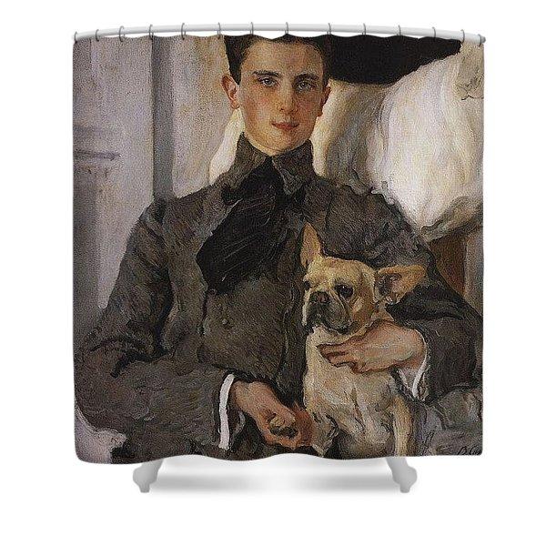 Portrait Of Count Felix Sumarokov - Elston Later Prince Yusupov With A Dog 1903 Valentin Serov Shower Curtain