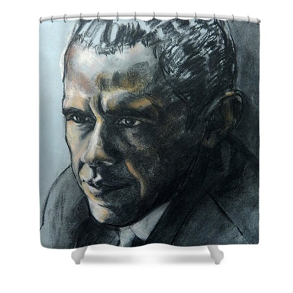 Charcoal Portrait Of President Obama Shower Curtain