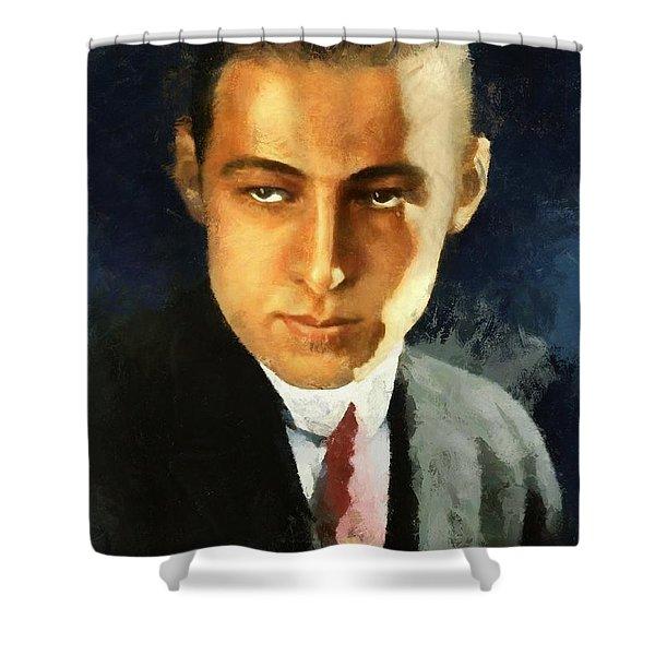 Portrait Of Rudolph Valentino Shower Curtain
