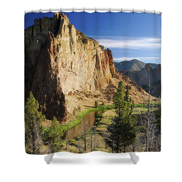 Portrait Of Smith Rock In Morning Light With Reflection On Crook Shower Curtain