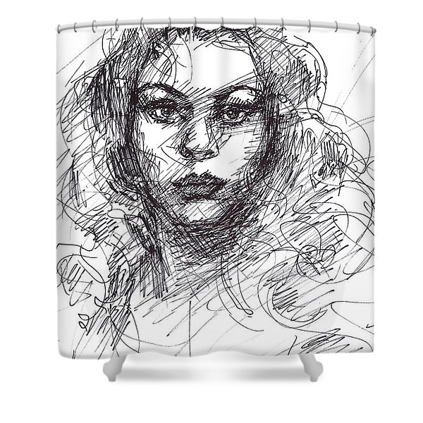 Portrait Sketch  Shower Curtain