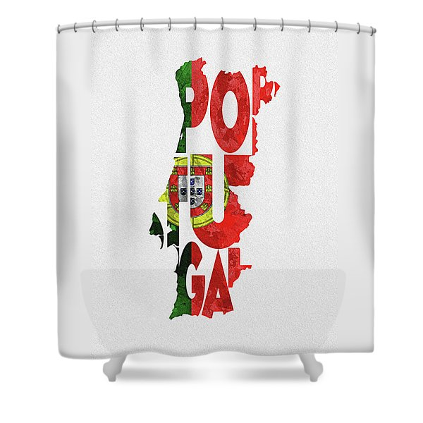 Portugal Typographic Map Flag Shower Curtain