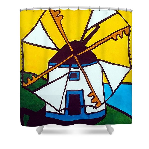 Portuguese Singing Windmill By Dora Hathazi Mendes Shower Curtain