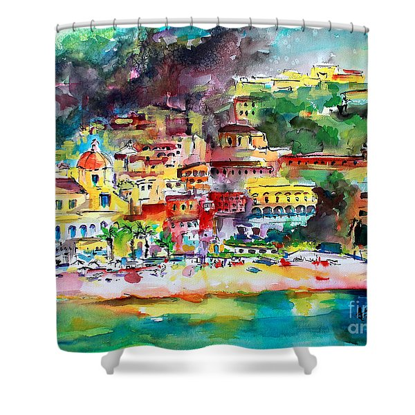 Amalfi Coast Positano Summer Fun Watercolor Painting Shower Curtain