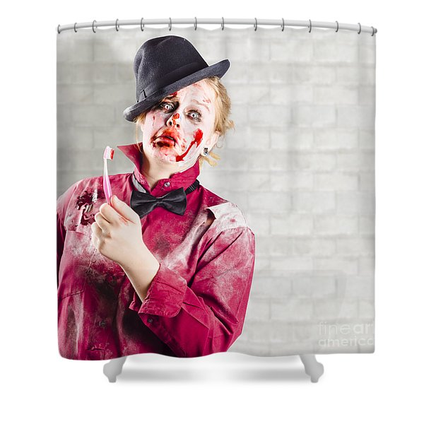 Possessed Girl With Bloody Toothbrush. Gum Disease Shower Curtain