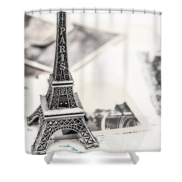 Postcards And Letters From Paris Shower Curtain