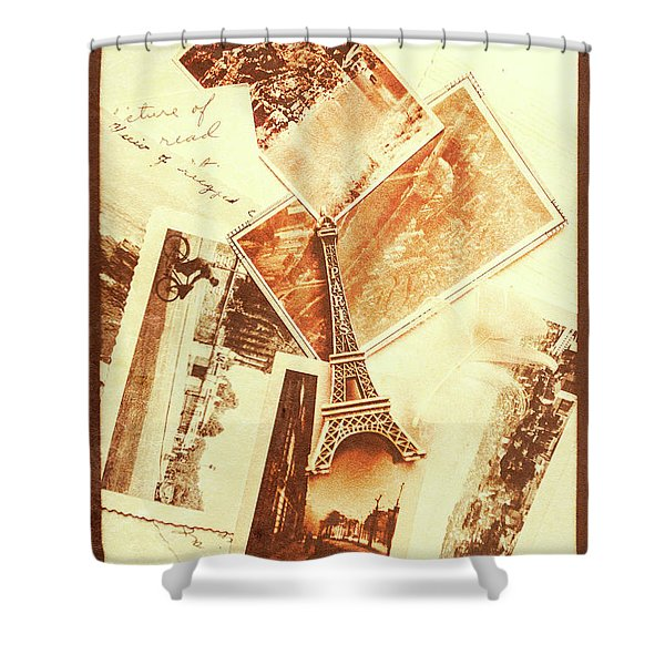 Postcards And Letters From The City Of Love Shower Curtain