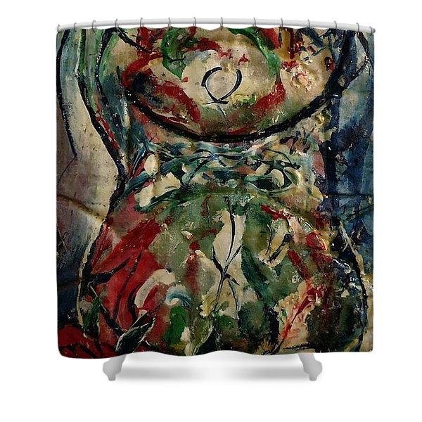 Potpourri Vase With Rose Shower Curtain