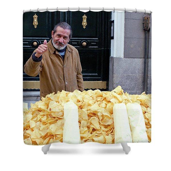Potato Chip Man Shower Curtain