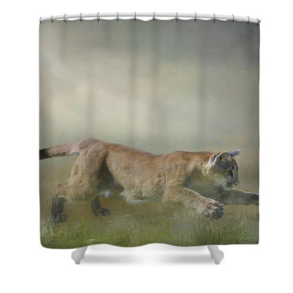 Pouncing Puma Shower Curtain
