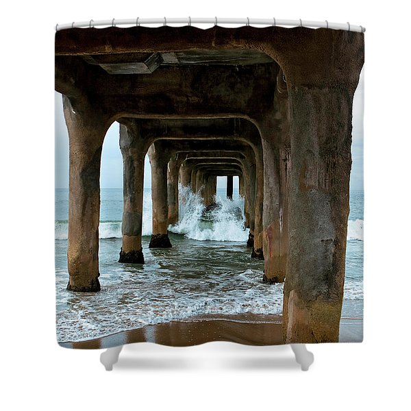 Shower Curtain featuring the photograph Pounded Pier by Lorraine Devon Wilke
