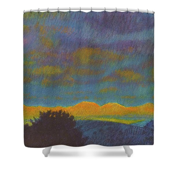 Shower Curtain featuring the painting Powder River Reverie, 2 by Cris Fulton