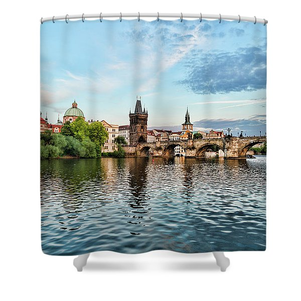 Prague From The River Shower Curtain