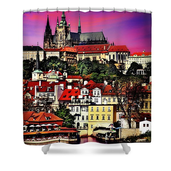 River Front Dining In Prague  Shower Curtain