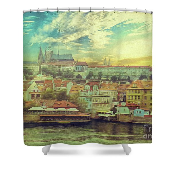 Prague Riverview Shower Curtain