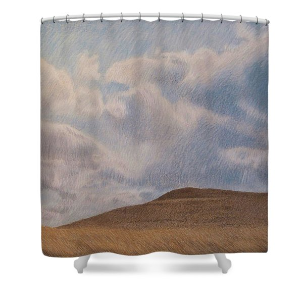 Shower Curtain featuring the pastel Prairie Hill by Cris Fulton