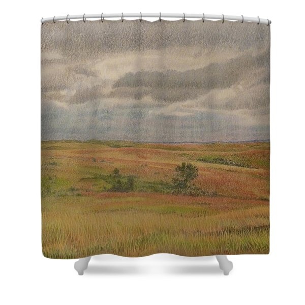 Shower Curtain featuring the drawing Prairie Light by Cris Fulton