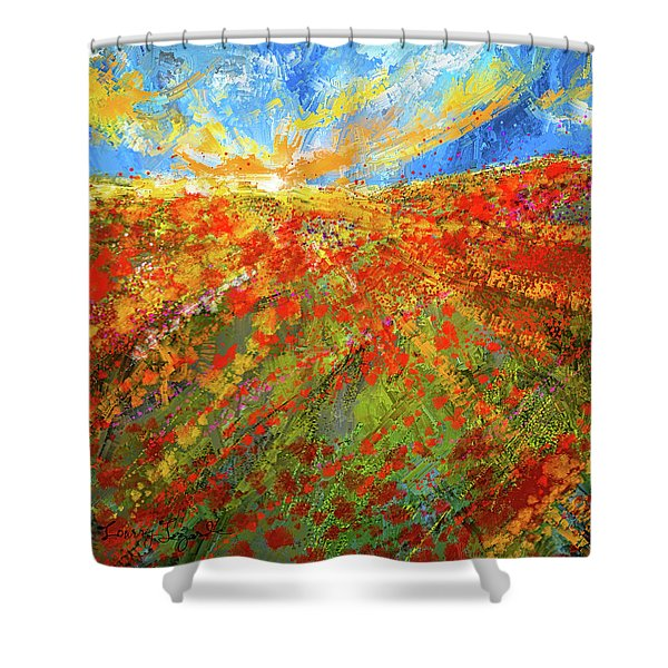 Prairie Sunrise - Poppies Art Shower Curtain