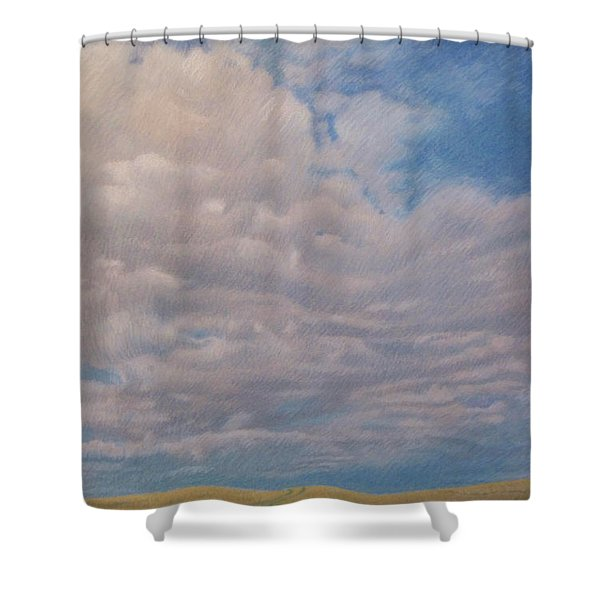 Shower Curtain featuring the pastel Prairie Trail by Cris Fulton