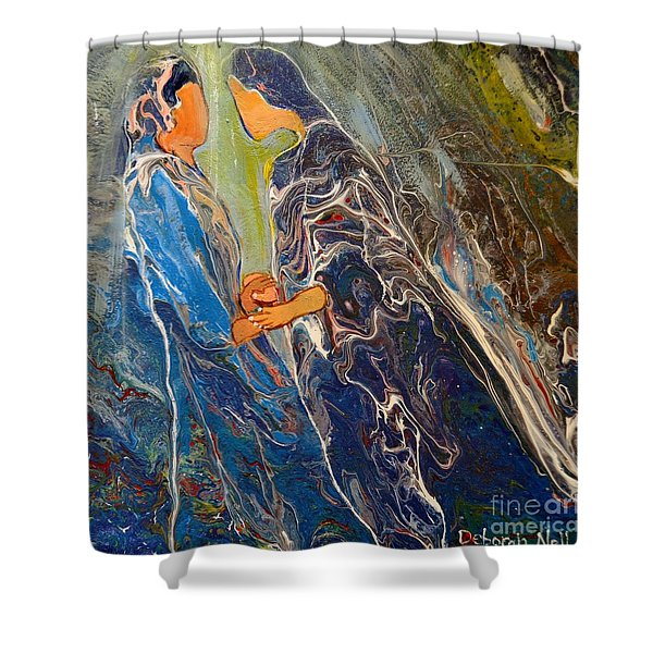 Shower Curtain featuring the painting Pray For One Another by Deborah Nell