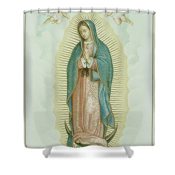 Prayer Card Depicting Our Lady Of Guadalupe Shower Curtain