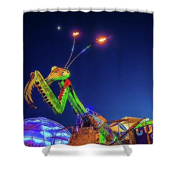 Praying Mantis Fremont Street Las Vegas Shower Curtain