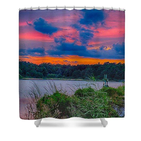 Pre-sunset At Hbsp Shower Curtain