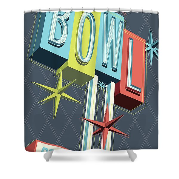 Premiere Lanes Bowling Pop Art Shower Curtain