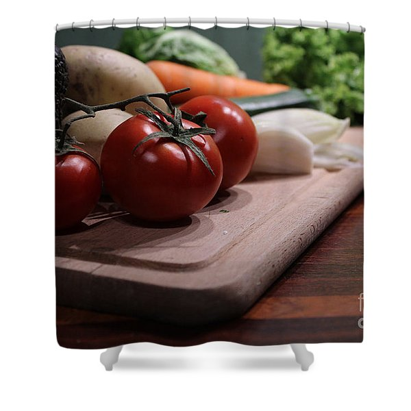 Preparing Vegetables For Cooking Food Shower Curtain