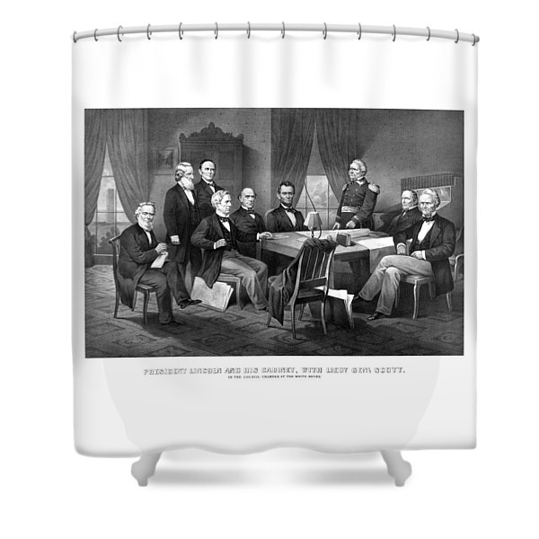 President Lincoln His Cabinet And General Scott Shower Curtain