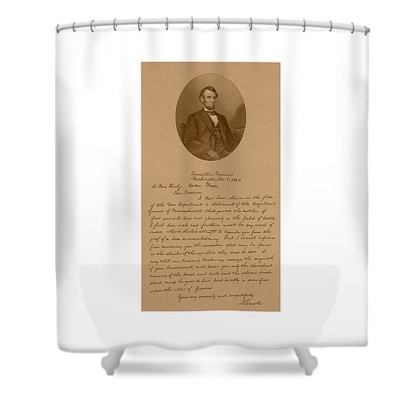 President Lincoln's Letter To Mrs. Bixby Shower Curtain