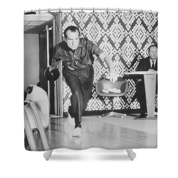 President Richard Nixon Bowling At The White House Shower Curtain