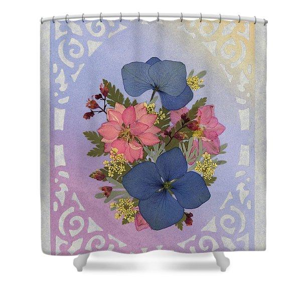 Pressed Flowers Arrangement With Pink Larkspur And Hydrangea Shower Curtain
