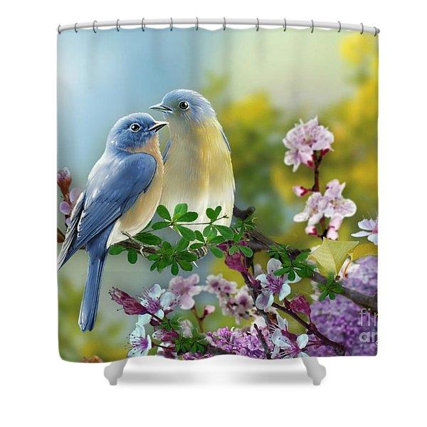 Pretty Blue Birds Shower Curtain