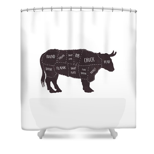Shower Curtain featuring the photograph Primitive Butcher Shop Beef Cuts Chart T-shirt by Edward Fielding