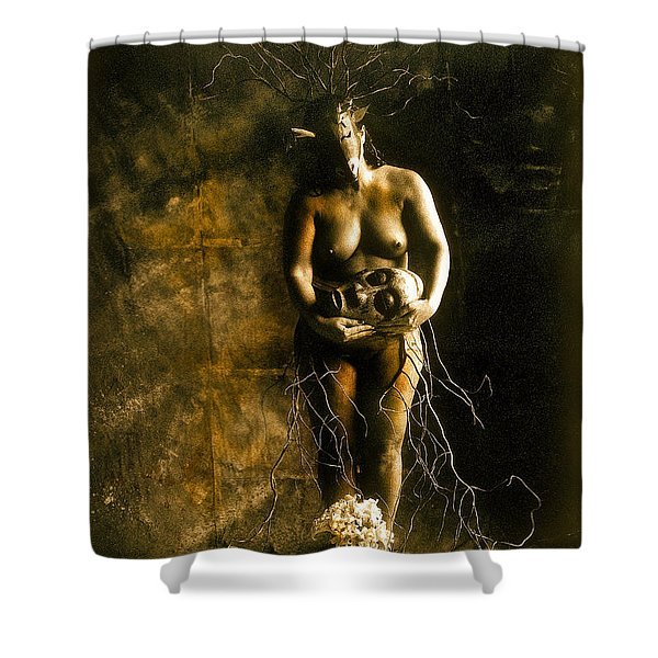 Primitive Woman Holding Mask Shower Curtain