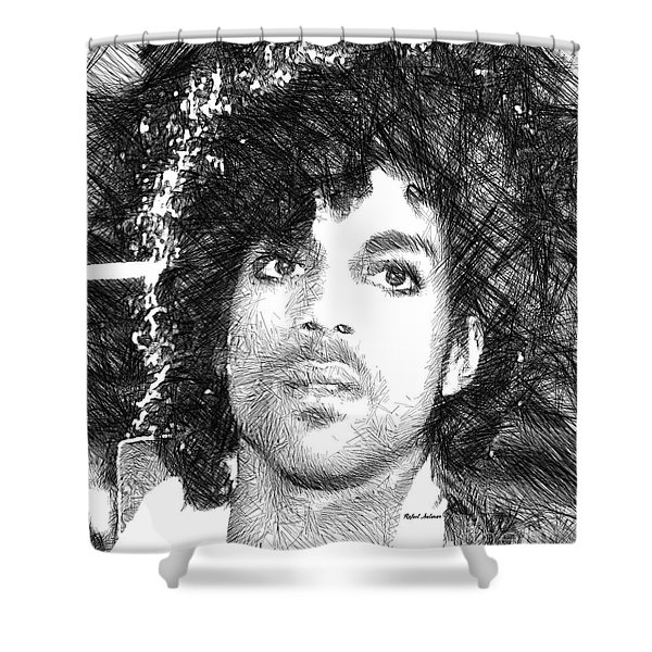 Prince - Tribute Sketch In Black And White 3 Shower Curtain