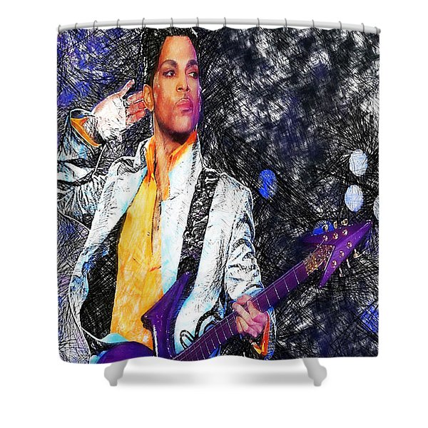 Prince - Tribute With Guitar Shower Curtain
