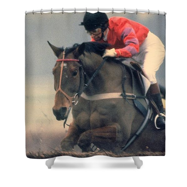 Princess Anne Riding Cnoc Na Cuille At Kempten Park Shower Curtain