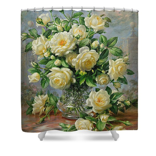 Princess Diana Roses In A Cut Glass Vase Shower Curtain