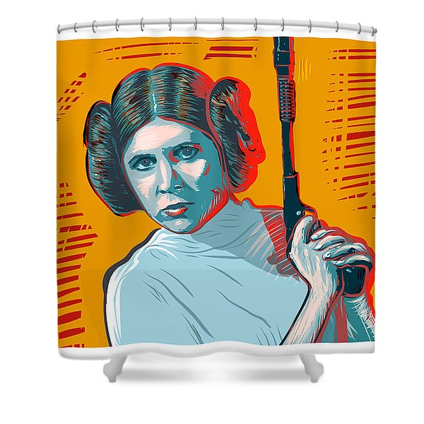 Shower Curtain featuring the digital art Princess Leia by Antonio Romero