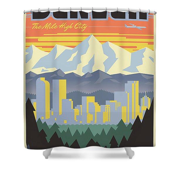 Denver Poster - Vintage Travel Shower Curtain