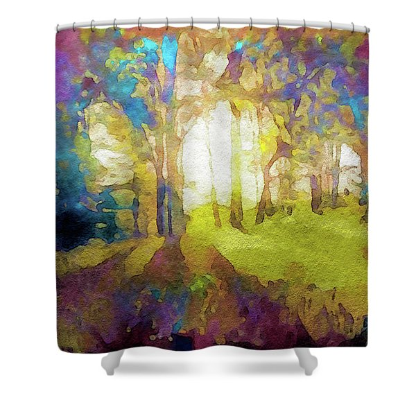 Prismatic Forest Shower Curtain