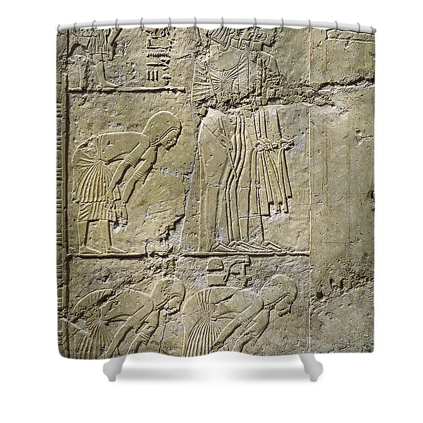 Private Tombs -painting West Wall Tomb Of Ramose T55 - Stock Image - Fine Art Print - Thebes Shower Curtain